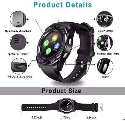 smartwatch con camara Zuen V8