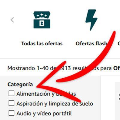 Categorías ofertas Amazon