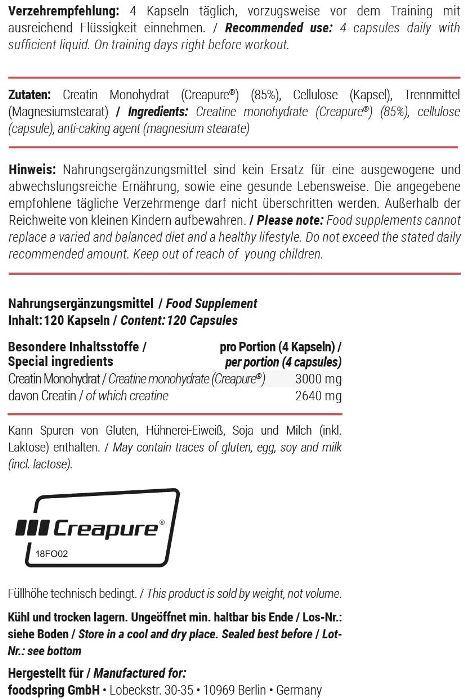 Etiqueta creatina FoodSpring
