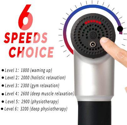 Pistola masajeadora Surplex velocidades